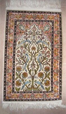 Middle Eastern Persian ? Small Silk Rug Hand Embroidered - Circa 1920