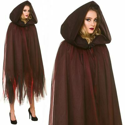 Adult Deluxe Layered Hooded Cape Cloak Fancy Dress Halloween Witch Costume New