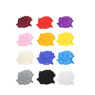 1PC Embroidery Rose Flower DIY Craft Iron/Sew On Patch Badge Clothing Applique