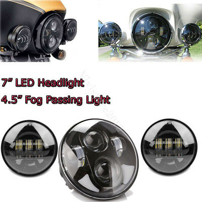 "AU 7'' Round Projector Daymaker Headlight + 2x 4.5'' 4-1/2"" Fog Light For Harley"