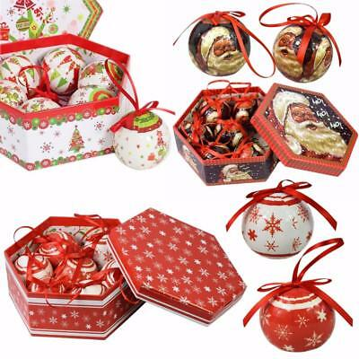 Set of 7 Traditional Christmas Red White Santa Baubles Tree Balls Decoration Box