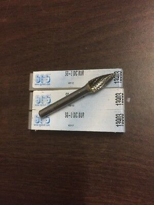 SGS Tool 13903 SG-3 Double Cut Carbide Bur 3/8 Diameter 1/4 Shank