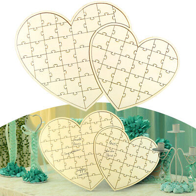 Wedding Heart Guest Book Alternative Party Event Wooden Jigsaw Puzzle