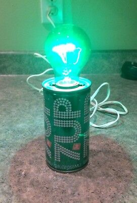 Vintage 7 UP Soda Can Lamp w/ Green Bulb