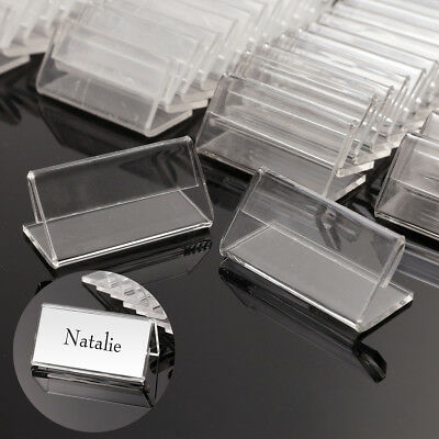 50Pcs Mini Clear Price Sign Display Holder Name Card Tag Label Stand 4cm x 2cm