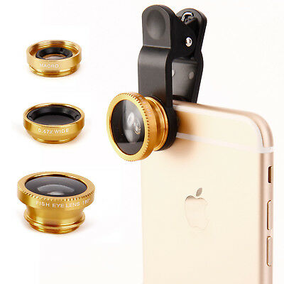 3in1 Clip Camera Lens Kit Fisheye +Wide Angle+Macro for Cell Phone Tablet Gold