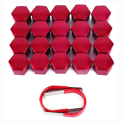 17mm RED ALLOY CAR WHEEL NUT BOLT COVERS CAPS UNIVERSAL FOR ANY CAR NEW