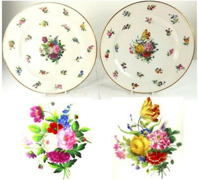 Pair Antique French Old Paris Porcelain Dinner Plates Hand Painted With Flowers