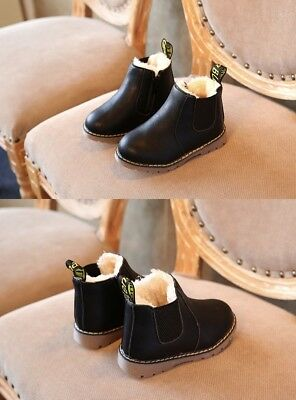 girls cream fur lined chelsea winter boots black zip fastening
