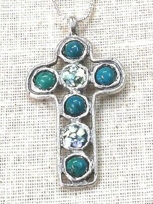 Roman Glass Cross Silver 925 Fragments 200 B.C Pendent Ancient Holy Land Israel