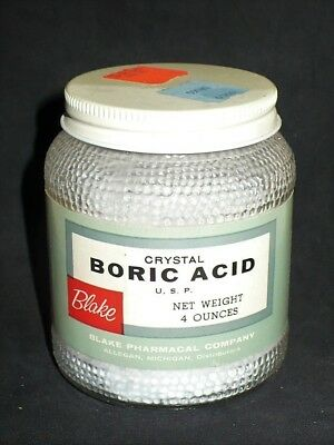 Vintage 1950'S Blake Boric Acid Clear Textured Glass Jar Lid Collectible Vgc