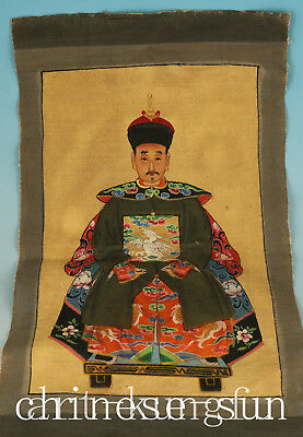Exquisite Chinese Cloth Handmade Painting Qing Dynasty King Roll
