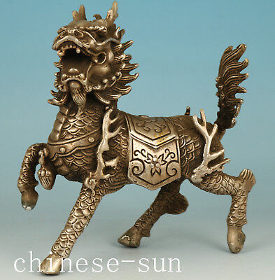 Chinese Copper Handmade Carved Kylin Statue Figure Decoration