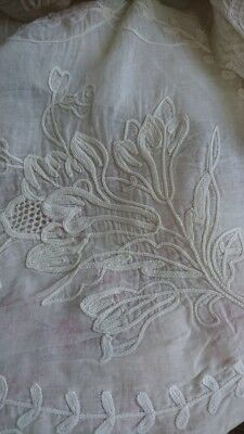 DIVINE ANTIQUE FRENCH SHEER CORNELLI LACE HAND EMBROIDERED MUSLIN CURTAIN c1880