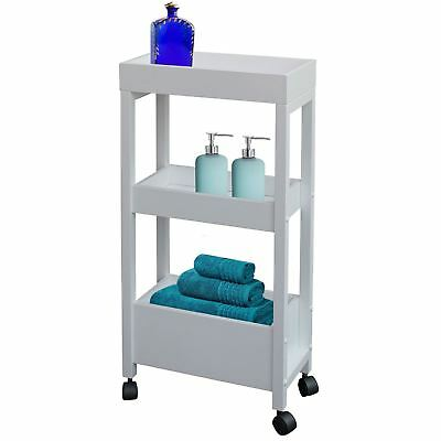 3 Tier White Bathroom Wooden Storage Trolly Organiser Shelf Unit Rack