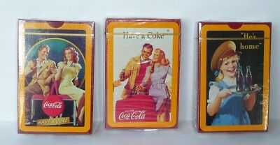 3 War Era Decks of Coca Cola Playing Cards, 1990's. HE'S HOME, & HAVE A COKE
