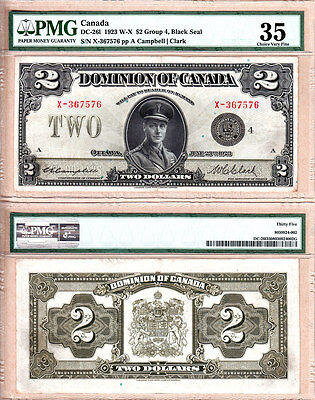 Prince of Wales in Uniform $2 1923 Dominion of Canada DC-26l.  PMG CH VF35 (aEF)