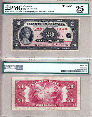 """PMG VF25 BC-10 1935 $20 Princess Elizabeth FRENCH Banque du Can """"Shirley Temple"""""""
