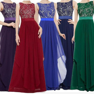 Womens Lace Chiffon Long Formal Wedding Evening Gown Party Prom Bridesmaid Dress