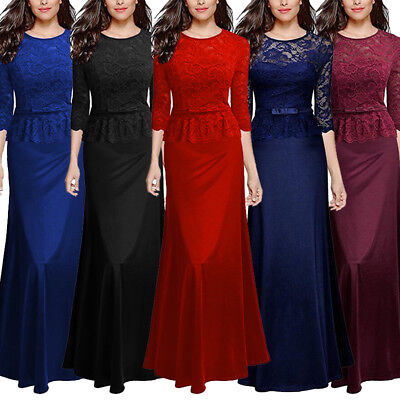 Womens Lace 3 4 Sleeve Long Dress Cocktail Formal Prom Gown Party Evening Dress
