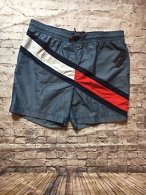 Brand New With Tags Mens Tommy Hilfiger Swim Trunks Color Block Flag Size XXL