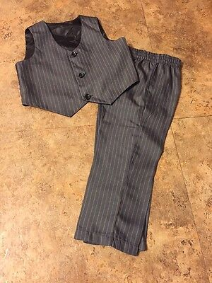 Boys Gray Pinstripe 2 Pc Dressy Vest & Pants Set Size 24 Months