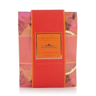 Ashleigh & Burwood  3 x Fragranced Sachets Geranium & Grapefruit Scented Pack