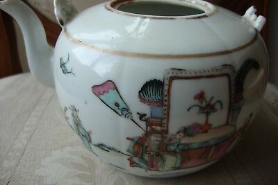 Chinese Famille Rose Teapot 19c Seal Mark