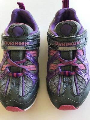 Girls Tsukihoshi Kids Sneakers Shoes Lavender/Gray/Fuschia purple pink Size 10
