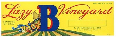 LAZY B VINEYARD Brand, Honey Bee, Thermal, AN ORIGINAL FRUIT CRATE LABEL, yellow
