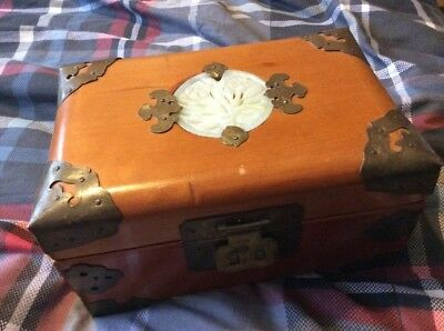 Vintage Chinese Hardwood Jewellery Box With Carved Inlay Metal Detailing Only £3