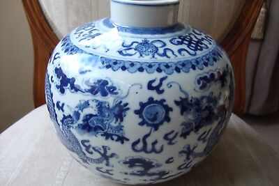 Chinese Blue & White Vase Dragons Chasing Flaming Pearl 19c Circa 1870