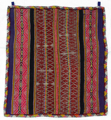 Vintage Bolivian Andean Handwoven Wool Manta Textile Wall Hanging