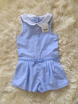 NWT Janie and Jack Blue Romper With White Collar Size 4