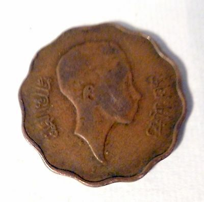 Iraq 10 fils Bronze coin 1943, Faisal II as Regent ,Rare