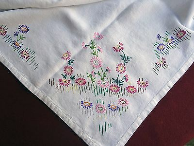 Small Vintage Lazy Daisy Embroidered Tablecloth