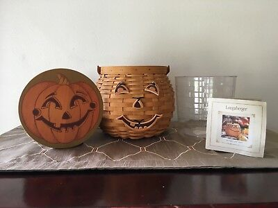 Longaberger 2001 Pumpkin Patch Basket with Jack-O-Lantern Accessories