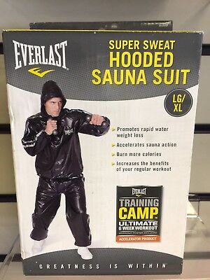Everlast Black Super Sweat Hooded Sauna Suit Fitness Training Boxing Gym  Lg/xl