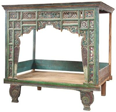 """89"""" L Antique bed hand carved details solid wood distressed green red finish"""