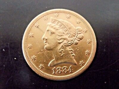 1884-S $5 Five Dollar United States American Liberty Head Half Eagle Gold Coin