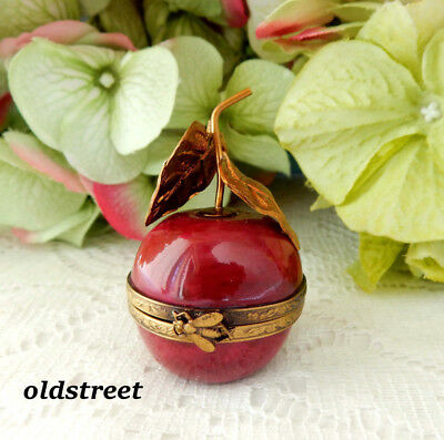 French Chamart Limoges Porcelain Peint Main Red Cherry Trinket Box ~ Bee Clasp