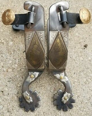 Handmade Silver Mounted Cowboy Spurs, Maker Marked, Super Punchy