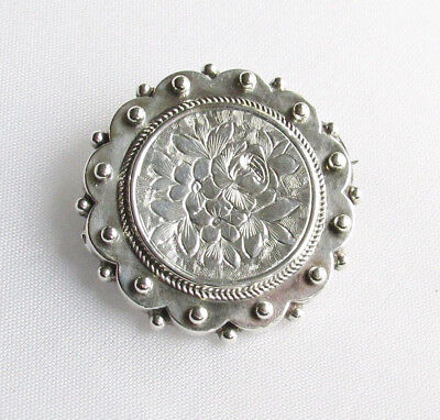Victorian antique sterling silver sweetheart brooch with compartment Birm 1881
