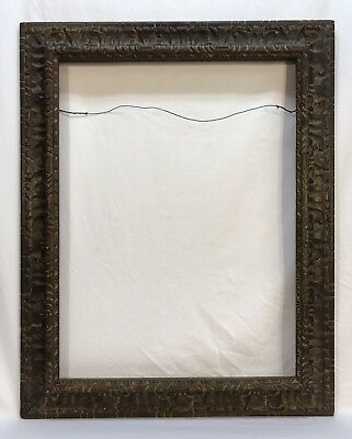 Vintage Large Mexican Spanish Heavily Carved Wood Frame 19 1/2 x 26 Opening