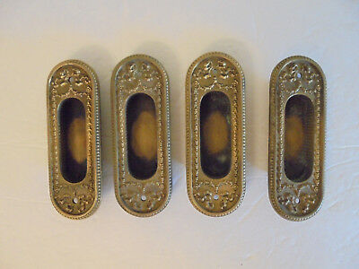 4  Vintage Antique Victorian Brass Pocket Sliding Door Hardware Pull Handles