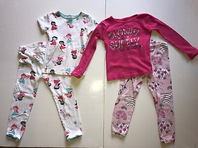 Toddler Girls Lot of 2 Long Short Sleeved Pajama Sets Size 4T Carter's 2-Piece