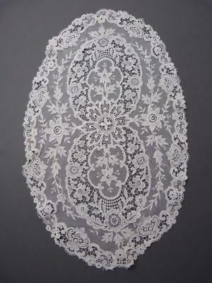 Superb quality antique Victorian oval lace table mat - 43 x 25 cms