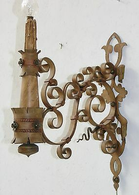 Antique Beautiful Pair Wrought Iron Sconces