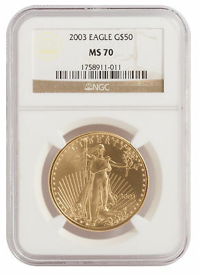 2003 - $50 1oz Gold American Eagle MS70 NGC Brown Label