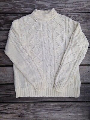 Mens Womens XLARGE Vintage SEARS Cable Knit Fisherman Sweater